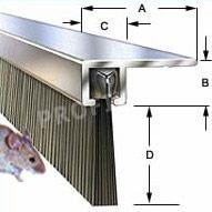 Winkelbürsten 90° Aluminium-Türprofile, Winkelstellung für Eingangstüren bis zu 100 cm Breite